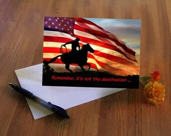 Country Western Cowboy American Flag Happy Birthday Card