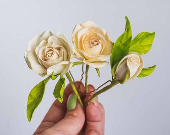 Set of 3 Ivory Roses Hair pins Rustic Boho Beach Wedding Hair Accessories Bridal Flower Hairpins Floral bobby Pins Rose Botanical hairpiece