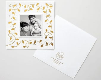 String Lights Gold Foil Stamped Holiday Photo Card