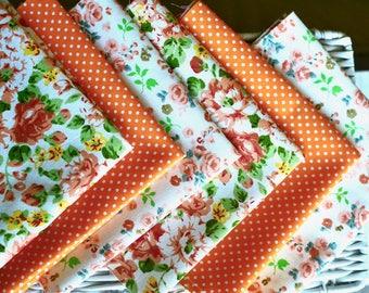 6 pc Orange cotton fabric I Orange white fabric I Cotton fabric I Sewing fabric I Doll making fabric I Floral fabric I Polka dots fabric