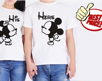 Modern couple tees Mickey and Minnie, boyfriend girlfriend t-shirts
