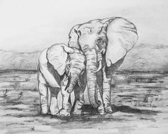 Mommy and Baby Elephant Drawing