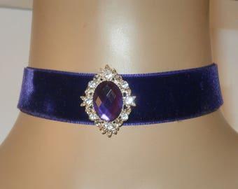 Royal purple Choker with Ornate Central Diamante Jewel Victorian Wedding FREE GIFT BOX