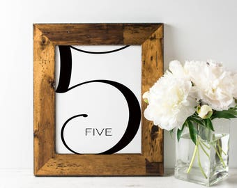No. TN8 | Table Numbers | 1 - 20 | Black & White | Wedding, Party or Reception | PDF | PNG | DIY | Printable | Instant Download