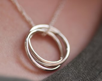 Sterling Silver Russian Band Necklace - Interlocking Circle Necklace