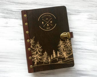 Personalised Travel Journal Wooden Journal Custom Notebook Leather Sketchbook Wooden Notebook Refillable Journal Adventure Book Gift for Him