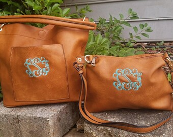 Monogrammed Camel bucket bag 2in1 gold tone hardware, personalized purse