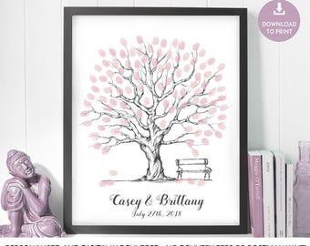 fingerprint tree, wedding guest book, wedding tree guest book, wedding tree, fingerprint guestbook, finger print tree thumb print guest book