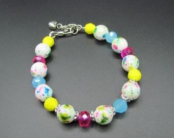 Rainbow Splatter Single Strand Beaded Bracelet Handmade Jewelry