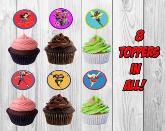 DC Superhero Girls Birthday Party Cupcake Toppers, DC Girls Cupcake Toppers, DC Girls Party