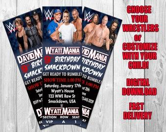 WWE Birthday Party Invitation, WWE Invitation, Ticket Style, WWE Party, Wrestling