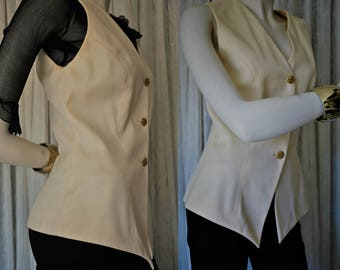 Vest Vintage 80s/Marina Babini fashion designer/Made in Italy/100% wool/Ivory color/Size 42 Italian