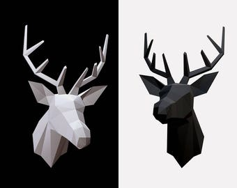 Be The Deer Head!! Low poly statues PDF for Paper craft. Make your own with this simple Wall decor