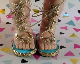 Cindy Gladiators, 18 inch doll shoes, clear PVC, summer shoes, lace up shoes, gladiator sandal, 18 inch doll clothes