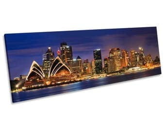 Sydney Opra House City Skyline CANVAS WALL ART Panoramic Framed Print