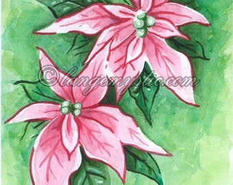 Happy new year original watercolor poinsettia flowers new year's Eve Nm45