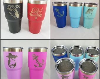 Personalized Stainless Steel Tumbler Cup - Powder Coated - Laser Engraved - 30 0z Tumbler - Vacuum Insulated Stainless Steel