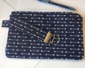 makeup bag custom zipper pouch travel bag cosmetic bag sunglasses pouch  - blue arrows zippered pouch