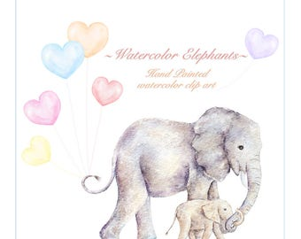 Watercolor Elephant Clip art, Hand painted Safari animal, Mom and me Nursery, PInk and Blue ballon Baby Shower, Elephant favor download, Png