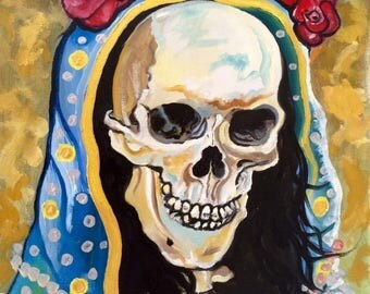 La Santa Muerte ( n*5 ) A3 Print from Original Oil Painting Folk Art Only Death Mexican Art Day of the Dead