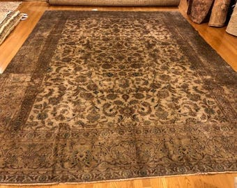 persian rug antique 9.5 x 12.7 very nice low pile earth tone