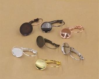 50pcs 10mm Round Brass Earring Blanks Cabochon Settings Bezel Earrings Earring Components Light Coat Jewelry