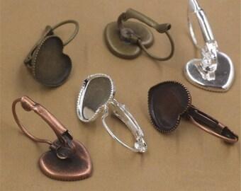 50pcs Heart Brass Earring Blanks Cabochon Settings Bezel Earrings Earring Components Light Coat Jewelry