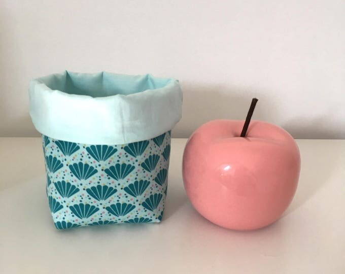 New: Basket Organizer reversible patterned shell Blue Lagoon and peacock blue.