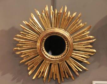 French antique gilt wood framed mirror Sunburst mirror french mirror, Gilt wood framed mirror, French vintage mirror, Mirror Sun mirror gift