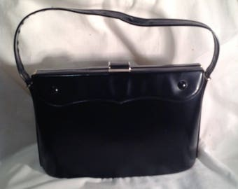 1950s Black Handbag / Purse