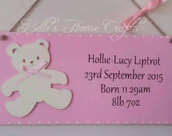 Personalised baby birth announcement plaque, baby birth details
