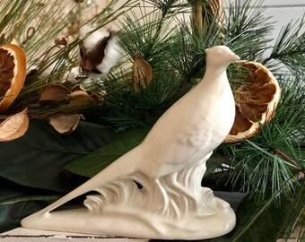 White Ceramic Pheasant Bird Figurine