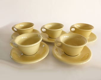 Russel Wright Sterling Cups and Saucers in Straw Yellow, Set of 5, Mid Century Modern