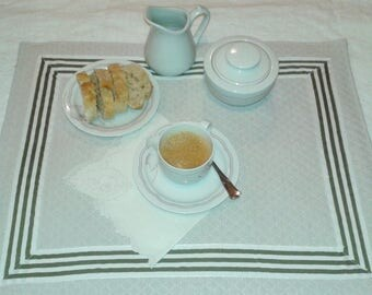 2 place mats fabric quilted cotton, quilted and lined