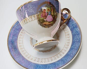 Blue Courting Couple Tea Cup and Saucer, Fragonard Design Tea Cup and Saucer. Victorian Couple in love Pink and Gold with Cameo Couple