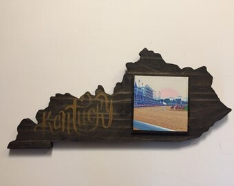 Derby Kentucky Shape Wooden Art