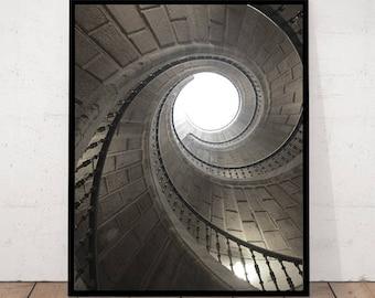 Spiral Stair Print, Staircase Print, Spiral Stair Photography, Spiral Stair Decor, Staircase Wall Art, Staircase Decor, Black and White