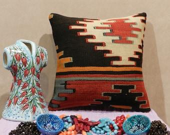 kilim pillow, turkish pillow,handmade pillow,decorativepillow,kilim pillow cover,pillows,pillow covers 16 x16,16x16inch,40x40cm