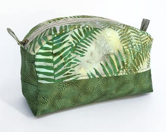 Travel Bag - Box Bag - Cosmetics Bag - Makeup Bag - Toiletry Bag - Green Zipper Bag - Cosmetic Bag - Gift for Her - Make Up Bag - Zipper Bag