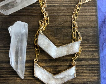 READY TO SHIP druzy agate chevron necklace on gold plated chain