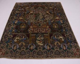 Eye-catching Unique Pictorial Kashmar Persian Rug Oriental Area Carpet 10X13