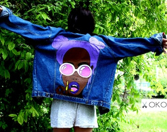 Hand painted denim Jacket with painting Jacket with art work on it Art on Denim jean Jacket with pop-art Drawing on jacket Figure on back