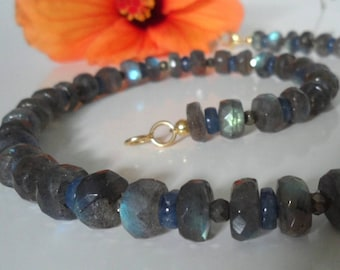 Kyanite, Labradorite necklace and pyrite