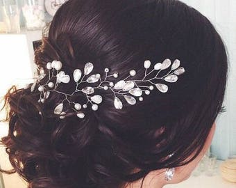 Wedding Hair Vine Silver Bridal Head Piece Pearl hair vine Bridal headpiece pearl fascinator Silver Bridal Hair Accessory Flower Hair Vine