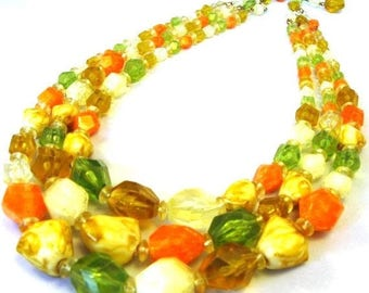 ON SALE Tropical Punch orange, green, yellow vintage necklace