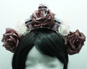 SALE pastel goth roses headband headpiece skull