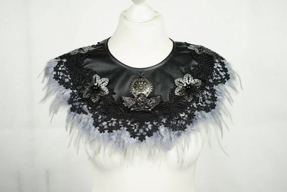 Angel silver feather black cape, Cape with grey silver feathers and angelic figure and cabochons