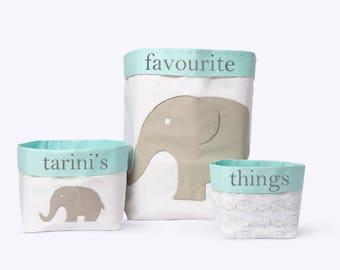 Elephant Parade - Fabric Storage Baskets, Nursery Storage Baskets, Storage Baskets, Canvas Storage Baskets, Baby Baskets, Nursery Baskets