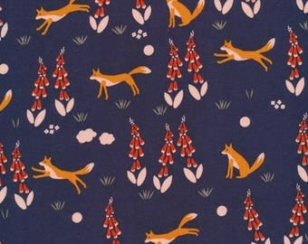 SALE Organic cotton fabric. Fox in the foxglove. sewing fabric Quilters weight. Cloud9 fabric. Navy orange fox foxglove