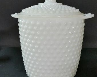Vintage milk glass hobnail cookie jar